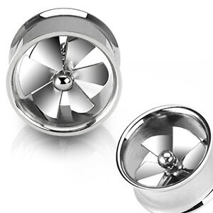PAIR of Spin Wheel STEEL EAR PLUGS TUNNEL Body Jewelry