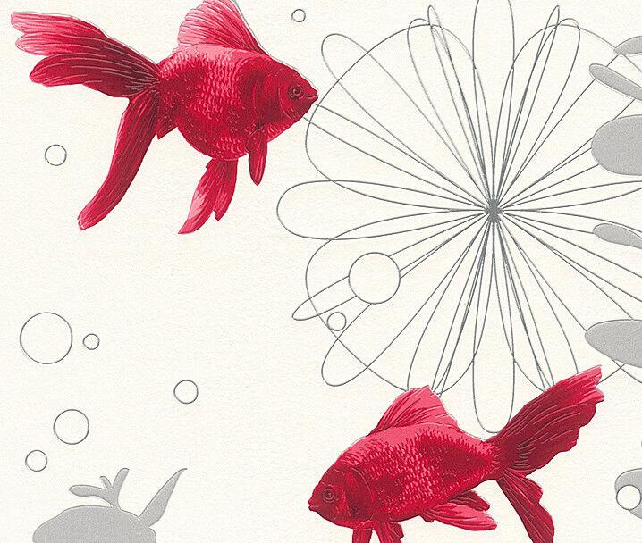 Rasch Tapeten Lagerverkauf : Details zu Rasch Vinyl Tapete Aqua Deco 2013 Bad Fische Wei? Rot