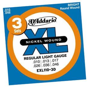 Addario EXL110-3D Guitar strings 10-46. Three Sets | eBay