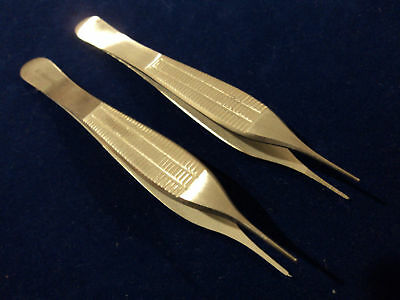 6 Adson Delicate Tissue 1x2teeth +serrated Micro Forceps 4.75 Fine Point
