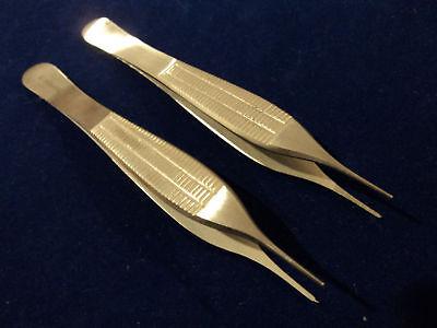 2 Adson Tissue 1x2teeth +serrated Forceps Fine Point