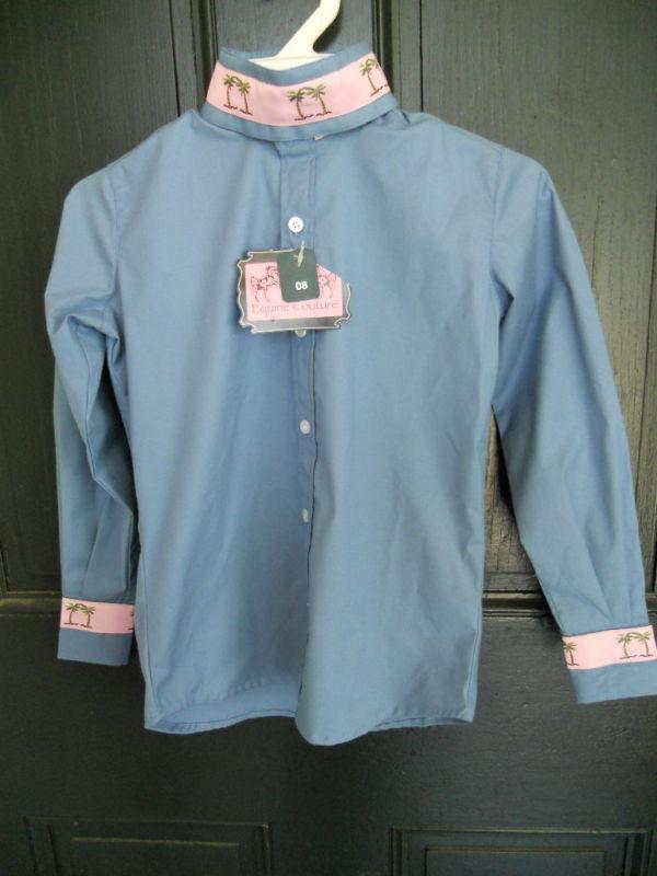 Equine Couture Girls Ratcatcher Horse Show Shirt Blue W/pink Palm Tree Trim