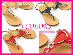 NIB-Jeweled-T-Strap-Flat-Sandals-Shoes-Blue-Red-Beige