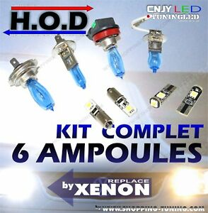 kit 6 ampoules xenon hod 6000k dacia duster ebay. Black Bedroom Furniture Sets. Home Design Ideas