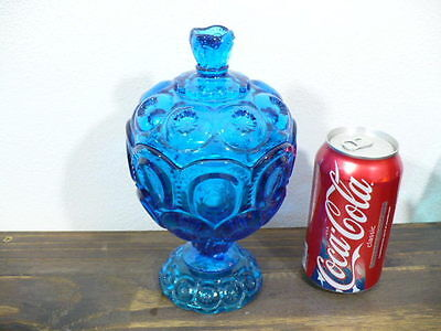 """Moon & Stars Colonial Blue Covered Candy Bowl 8"""" tall"""
