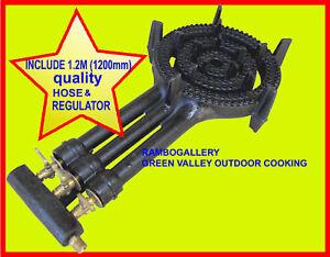 Free1.2m Hose & Regulator New 3 Ring Wok Burner BBQ Cooker LPG Gas Portable Cook
