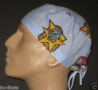 Rocky & Bullwinkle Tv Cartoons Scrub Hat / Rare / Free Custom Sizing