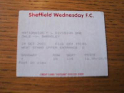 24/10/2001 Ticket: Sheffield Wednesday v Barnsley  . No