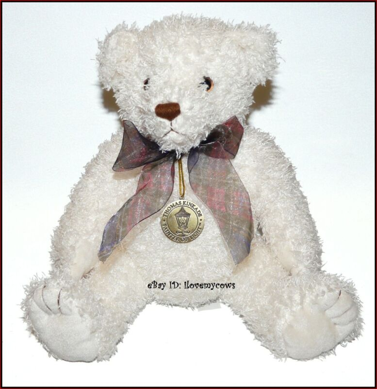 "Thomas Kinkade Plush Teddy Bear White Plaid Bow Sits 9"" Medal around neck"