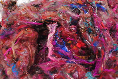 Carded Sari Silk 100g  for Felting, Dyeing, Paper and Spinning