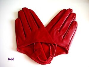WOMENS SEX AND CITY FIVE FINGER HALF GLOVES Leather
