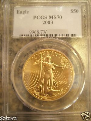 2003 $50 PCGS MS70  ONE OUNCE GOLD AMERICAN EAGLE
