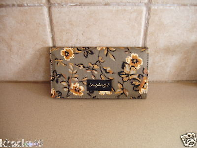 LONGABERGER KHAKI FLORAL CHECKBOOK COVER WITH PHOTO INSERT * NIP * FREE SHIPPING