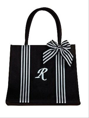 Isabella's Journey Black Canvas Monogram r Fashion Tote Bag