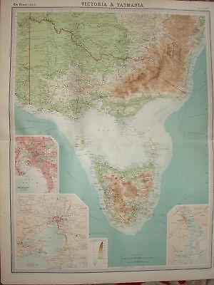 1920 LARGE MAP ~ VICTORIA & TASMANIA ~ 23 INCHES x 18