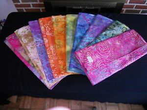 BATIK-Jewel-Tone-Cotton-Fabric-1-2yrd-10-Patterns-Grp-A