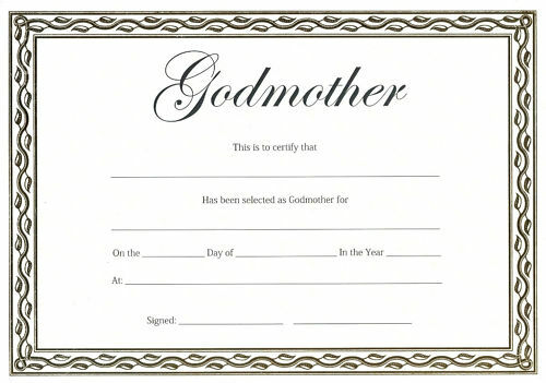 Godmother Certificate Christening or Naming Day Gift