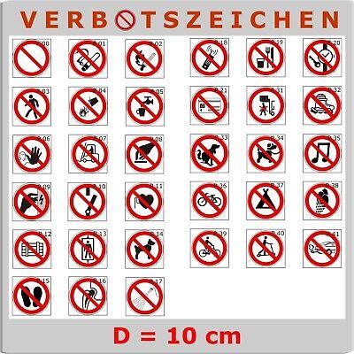 Aufkleber Verbote, Verbotszeichen, FREIE AUSWAHL, 10 cm, inkl. Schutzlaminat