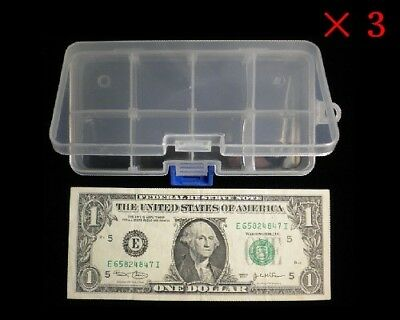 3 Clear Plastic Small Box Case / Storage Container For Lure Or Bead