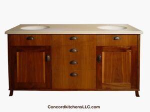 Custom 58 68 bathroom vanity silestone viatera quartz for Bathroom vanities massachusetts