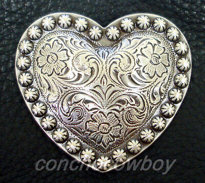 """WESTERN HORSE TACK HEADSTALL SADDLE CRAFT HEART BERRY CONCHO 1"""" screw back"""