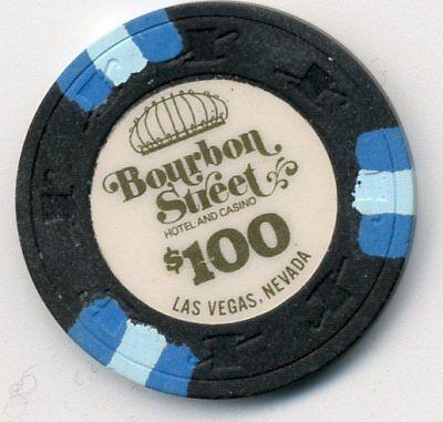 BOURBON STREET OBS.  LAS VEGAS $100   HOUSE CASINO CHIP