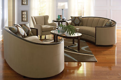 EVA - MODERN WOOD TRIM & TAN FABRIC SOFA COUCH & CHAIR SET LIVING ROOM FURNITURE
