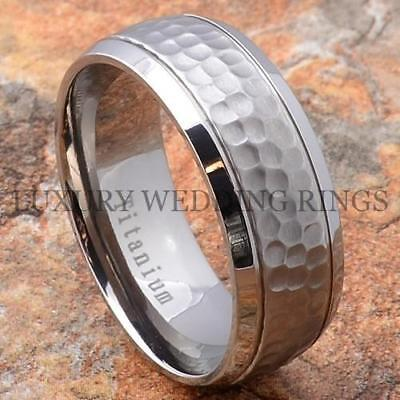 Titanium Men's Wedding Band Ring Hammered Top Size 6-13