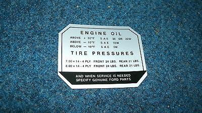 1957 Ford Car Glove Box Tire Pressure Decal Sticker