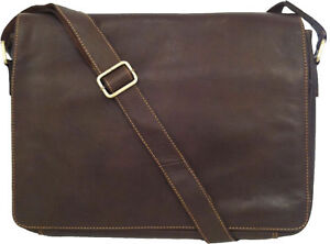 UNICORN-Real-Leather-Brown-16-4-Laptop-Netbook-Messenger-bag-2L