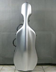 strong,hard 4/4 bright gray fiberglass cello hard case