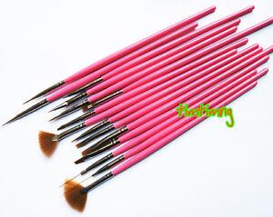 15-pcs-Nail-Art-Design-Brush-Set-Painting-Pen-PINK
