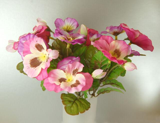 Pose of Artificial Silk Pink Pansies