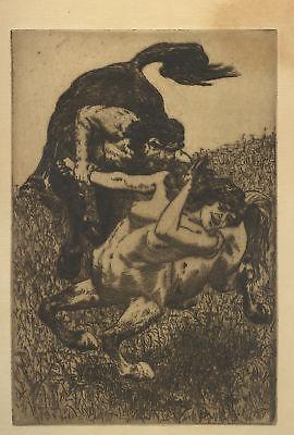 Max Pietschmann – Originalradierung: Centaurenpaar 1896