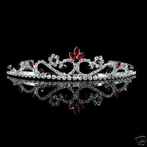 3cm High Wedding Prom Red Crystal Tiara Headband