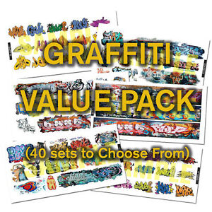 HO-or-N-Scale-Graffiti-Decals-Value-Pack-40-DISCOUNT