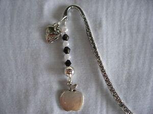 thankyou-teacher-apple-silver-handmade-tibetan-silver-bead-charm-bookmark-gift
