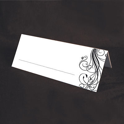 100 BLACK Swirl Smooth Wedding Table/Place cards - Black Place Cards