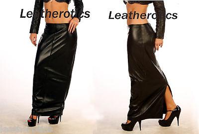 Real Leather Long Skirt Black Tall Dress Full Length Blg15