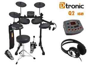 NEW ELECTRONIC DIGITAL DRUM KIT D-TRONIC Q2 WITH ALL ACCESSORIES w DRUM STICKS