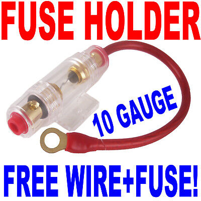 In Line Fuse Holder With 10 Gauge Wire + 30a Agu Fuse Fast Free Usa Shipping