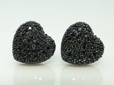 Womens Heart Black On Black Diamond Stud Earrings 10mm on sale