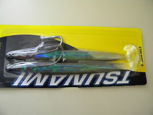 Tsunami natural Sandeel Needlefish Sand EEL 2 Lures HRSE8-2-3 Black back 8