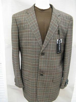 Men's Tessori Brown And Rust Plaid Blazer Sportscoat $399