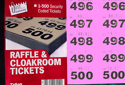500 raffle tickets  in a book  (cloakroom or tombola) with duplicates