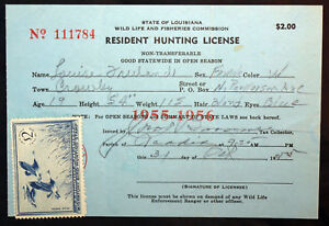 Rw22 Duck Stamp Attached La Hunting License Bl9710 Ebay