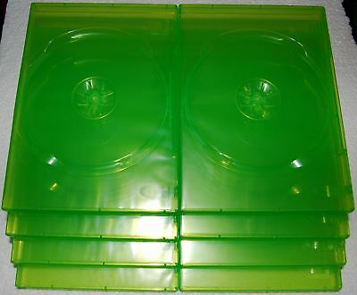 (8) Xbox 360 Green Empty Dvd Game Boxes Case