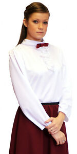 Victorian-Edwardian-Steampunk-WHITE-BLOUSE-all-sizes