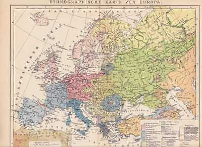 EUROPA Ethnographie Völkergruppen KARTE um 1900 Europäer Slawen Mongolen