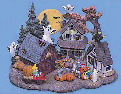 Ceramic Bisque Ready to Paint Halloween Village  3 light village kit included](Halloween Village To Paint)